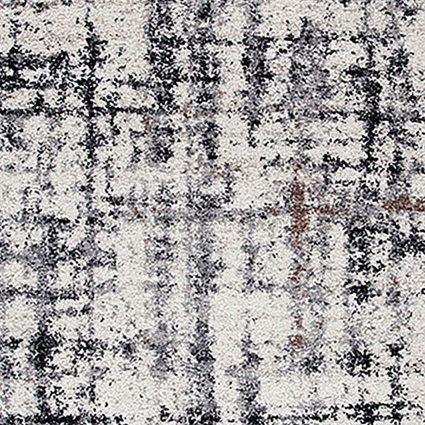 90 X 63 Inches Fabric Power Loomed Rug with Dripping Print in Black and Off White - BM207811