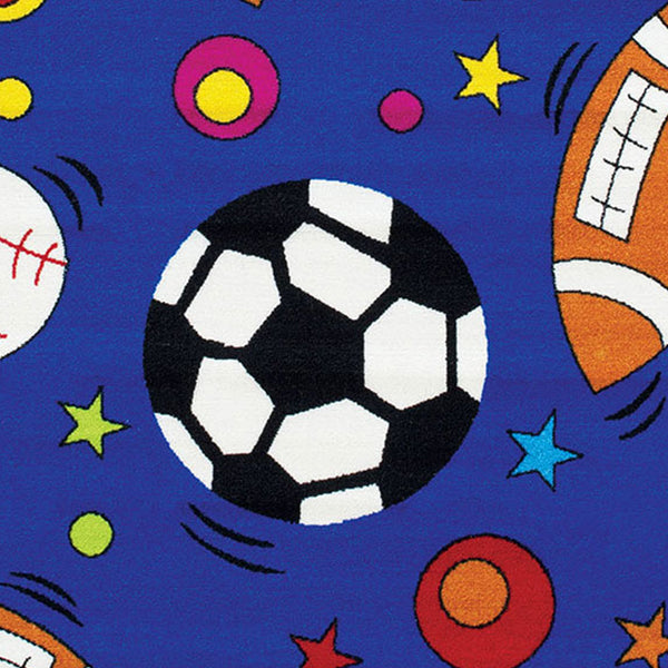 81 X 57 Inches Nylon Rug with Outdoor Sports Ball Print in Multicolor - BM207828