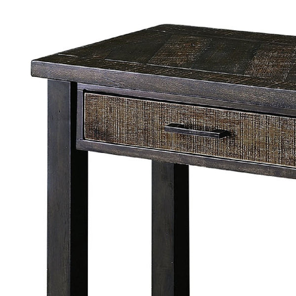 2 Drawer Rustic Style Plank Top Sofa Table with Open Shelf in Dark Oak - BM208133