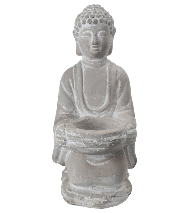 Kneeled Cement Buddha Figurine with Front Candle Holder, Gray - BM208206