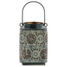 Square Shape Metal Lantern with Pierced Floral Design and Handle, Gray - BM208212