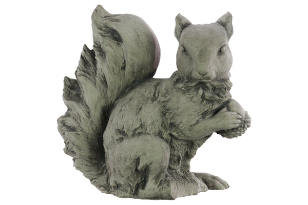 Cement Squirrel Figurine with Side Facing head and Crossed Hands, Gray - BM208229