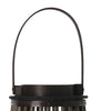 Flared and Caged Bamboo Lantern with Glass Hurricane, Dark Brown - BM208249