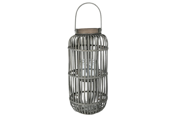 Wooden Caged Decorative Lantern with Glass Hurricane, Large, Gray - BM208268