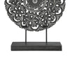 Round Wooden Accent Decor with Floral Cut Out Details, Black - BM208287