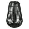Metal Frame Bellied Lantern with Wooden Lattice Design, Small, Black - BM208301