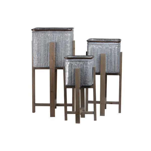 3 Piece Square Vented Design Metal Planters with Copper Rim, Gray and Brown - BM208396