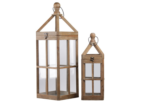 Wooden Lantern with Finial Top and Intersecting Glass Panes, Set of 2,Brown - BM208411