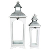 Wooden Lantern with Corrugated Metal Top and Glass Panes, Set of 2, White - BM208417