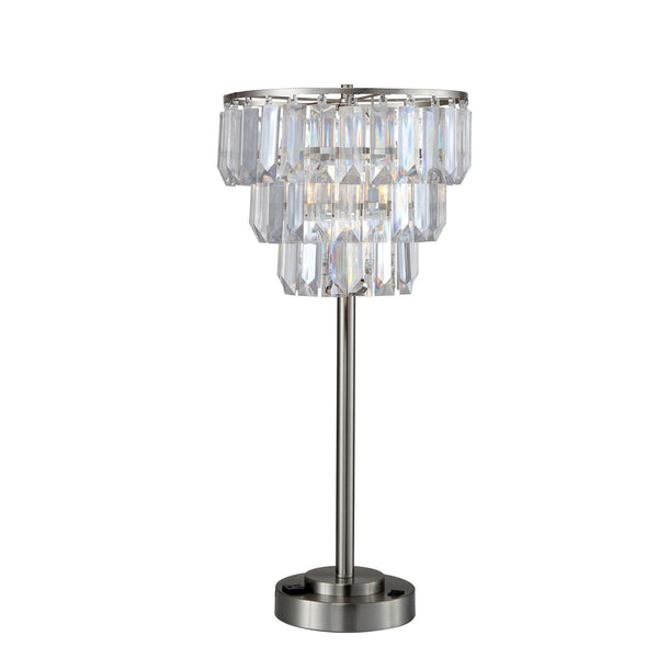 Contemporary Table Lamp with Inverted Crystal Like Shade in Silver and Gray - BM209015