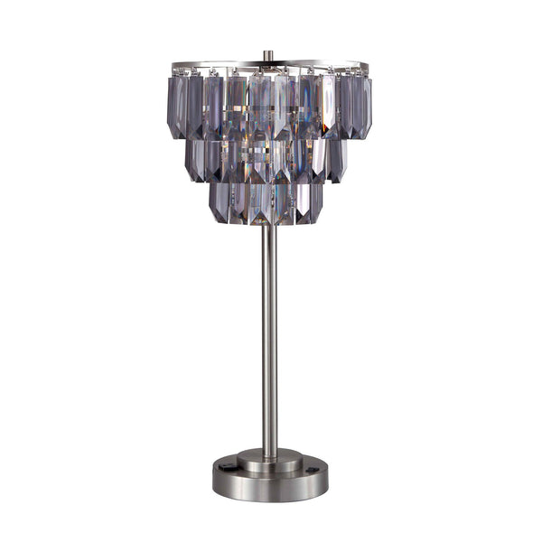 Contemporary Table Lamp with Inverted Crystals Like Shade in Silver and Gray - BM209016