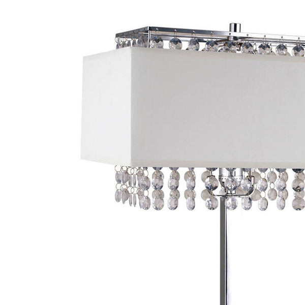 Table Lamp with Hanging Crystal and Rectangular Base, White and Silver - BM209024