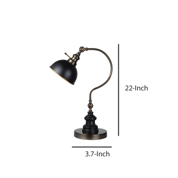 Industrial Style Table Lamp with Curved Stem and Round Base in Gold and Black - BM209026