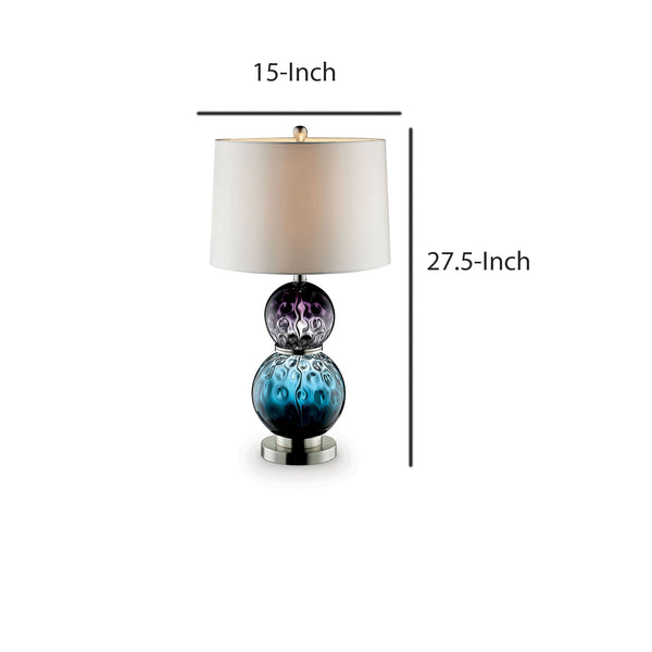 Table Lamp with Stacked Ball Base and Round Tier Support in Blue and Purple - BM209038