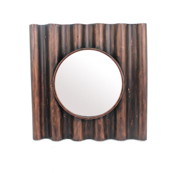Traditional Style Wooden Round Mirror with Panpipe Style Frame , Brown - BM209096