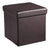 Square Leatherette Foldable Storage Ottoman with Padded Seat, Brown - BM209146