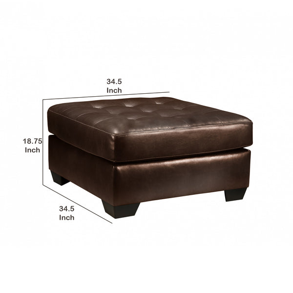 Button Tufted Cushioned Oversized Ottoman with Tapered Block Legs in Brown - BM209191