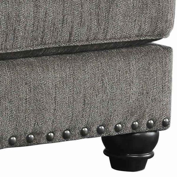 Rectangle Shaped Ottoman with Cushioned Top and Nail head Trims in Gray - BM209195