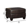 Traditional Fabric Upholstered Ottoman with Wooden Tapered Legs in Brown - BM209214