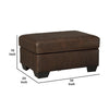 Wooden Faux Leather Upholstered Ottoman with Stitched Seating in Brown - BM209217
