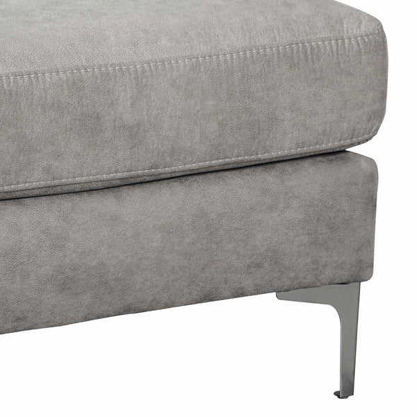 Fabric Upholstered Wooden Ottoman with Straight Metal Legs in Gray and Silver - BM209227
