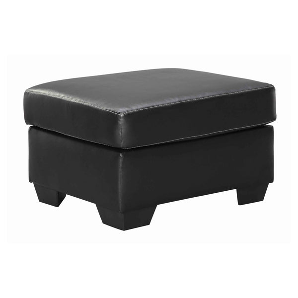Leatherette Upholstered Wooden Ottoman with Tapered Block Legs in Gray - BM209230