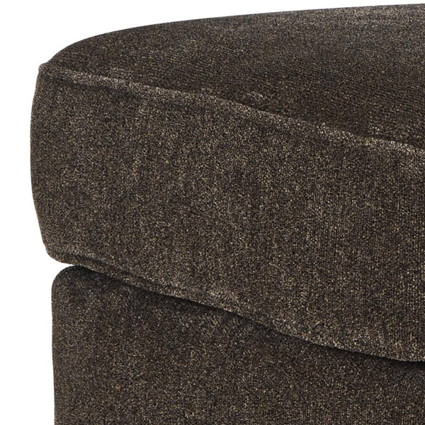 Fabric Upholstered Ottoman with Nailhead Trims and Bun Feet in Dark Brown - BM209339