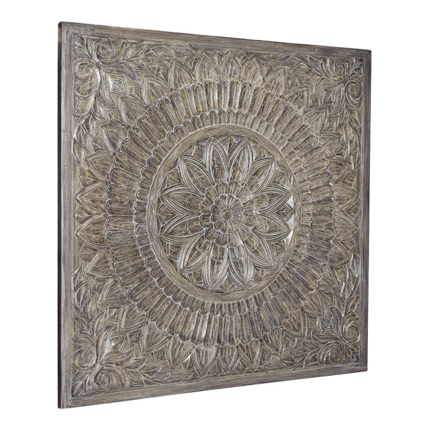 Rectangular Wooden Wall Decor with Textured Medallion Pattern in Antique Gray - BM209347