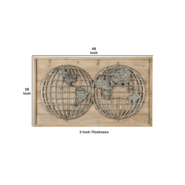 Wooden Wall Decor with Textured Round Metal World Map in Brown and Gray - BM209372