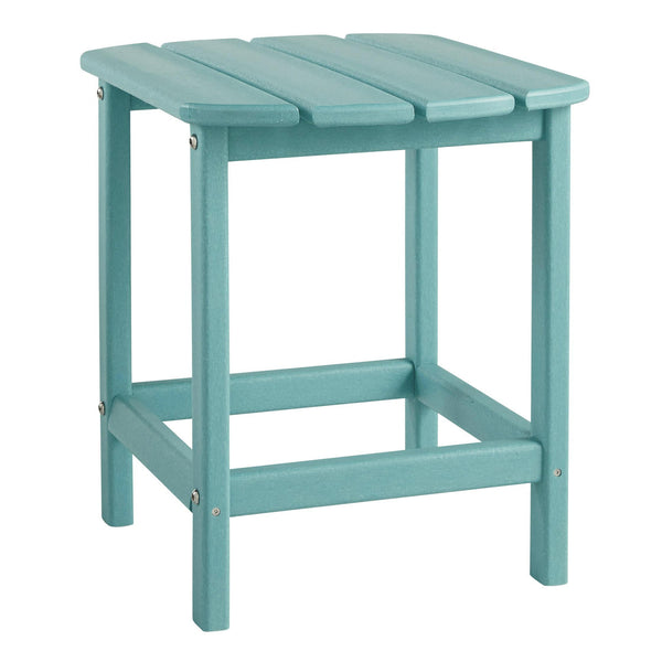 Slatted Rectangular Hard Plastic End Table with Straight Legs in Blue - BM209394