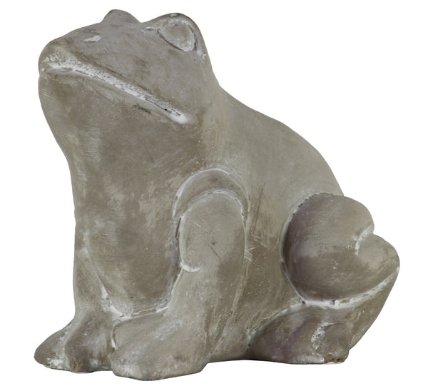 Cemented Sitting Frog Figurine with Closed Legs and Washed Finish, Gray - BM209427
