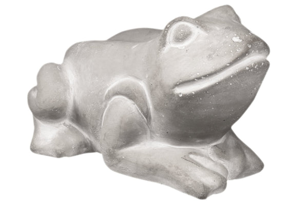 Cemented Resting Frog Figurine on Arms, Washed Gray - BM209434