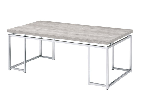 Coffee Table with Rectangular Tabletop and Metal Legs, Silver and Brown - BM209595