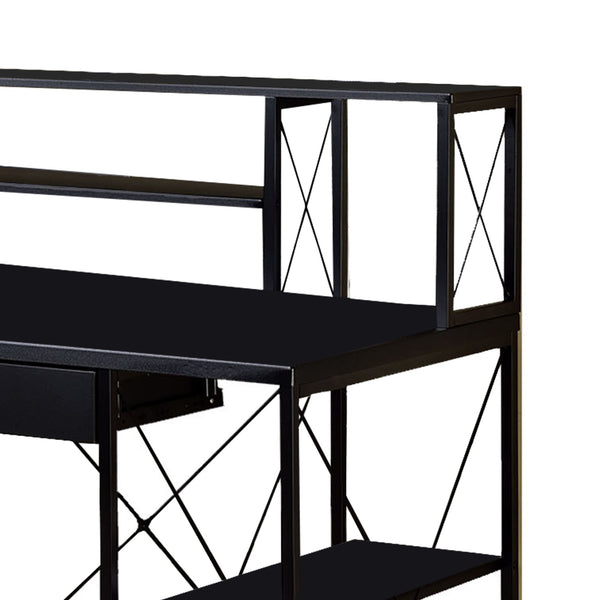 Industrial Style Desk with 4 Open Selves and Bookcase Hutch in Black - BM209613