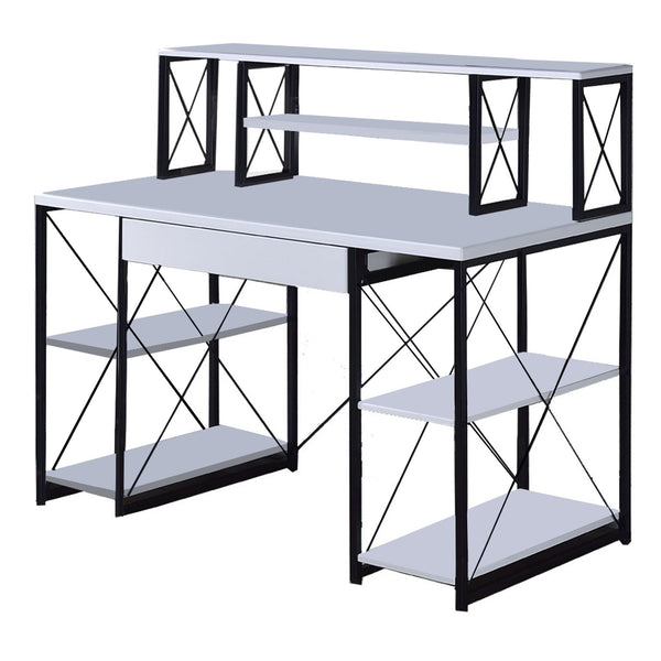 Industrial Style Desk with 4 Open Selves and Bookcase Hutch in White - BM209614