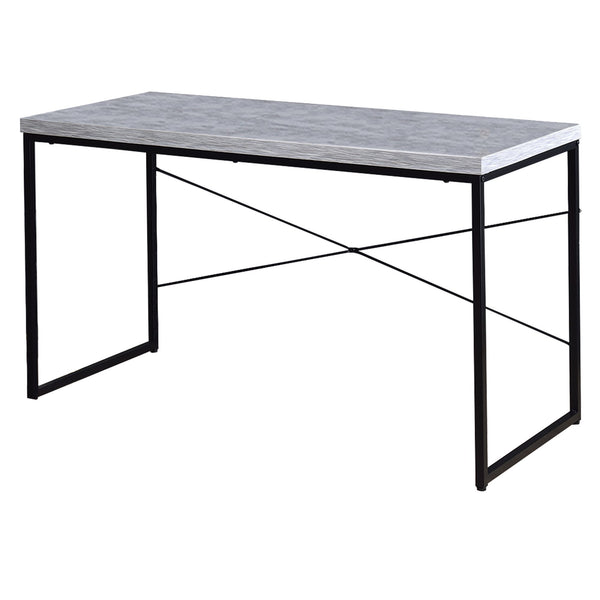 Sled Base Rectangular Table with X shape Back and Wood Top, White and Black - BM209631