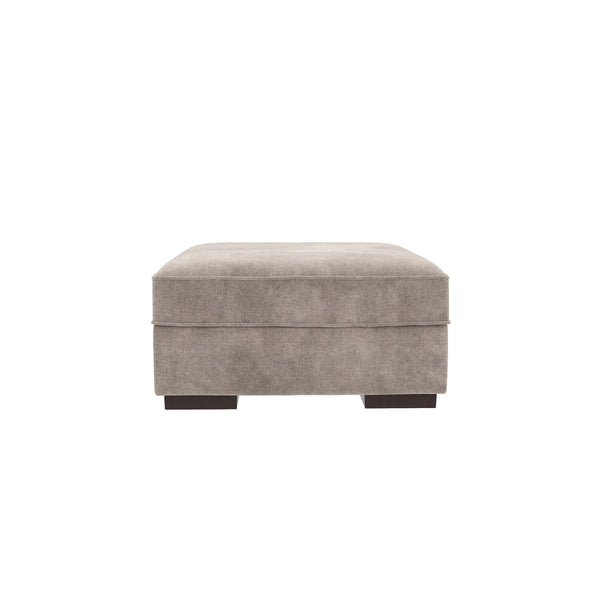 Wooden Storage Ottoman with Durable Block Legs in Silver and Black - BM209696