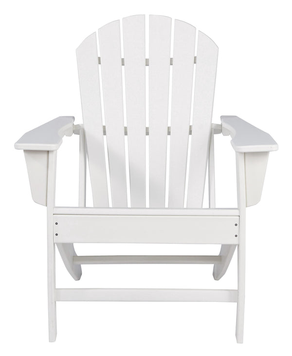 Contemporary Plastic Adirondack Chair with Slatted Back in White - BM209700