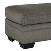 Wooden Ottoman with Fabric Upholstery and Tapered Block Legs in Gray - BM209705