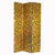 3 Panel Wooden Frame Screen with Animal Print, Gold and Black - BM210112