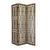 3 panel Grained Wooden Frame Screen with Lattice Cut Outs, Brown - BM210120