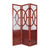 3 Panel Wooden Frame Screen with Interconnected Cut Out, Cherry Brown - BM210143