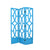 Open Cut Out 3 Panel Wooden Frame Screen with Double Hinges, Teal Blue - BM210147