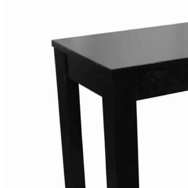 Wooden Chairside Table with Bottom Shelf and Block Legs, Black - BM210203