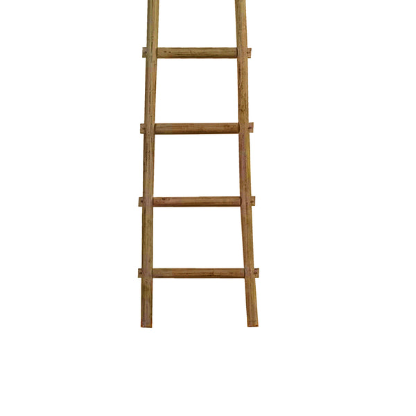 Transitional Style Wooden Decor Ladder with 6 Steps, Brown - BM210392