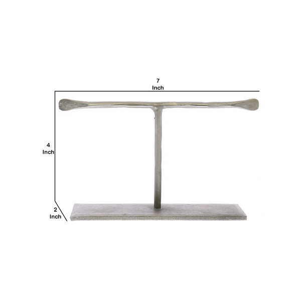 T Shaped Iron Jewellery Stand with Flat Base and Flattened Ends in Silver - BM210565