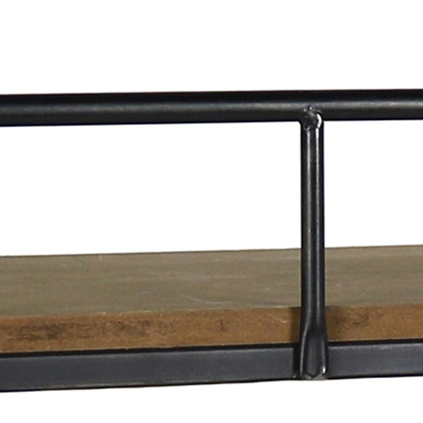 Transitional Style Wooden Wall Shelf with Metal Brackets in Black and Brown - BM210581