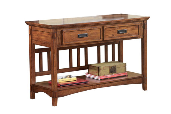 2 Drawer Mission Style Console Table with Open Bottom Shelf in Brown - BM210633