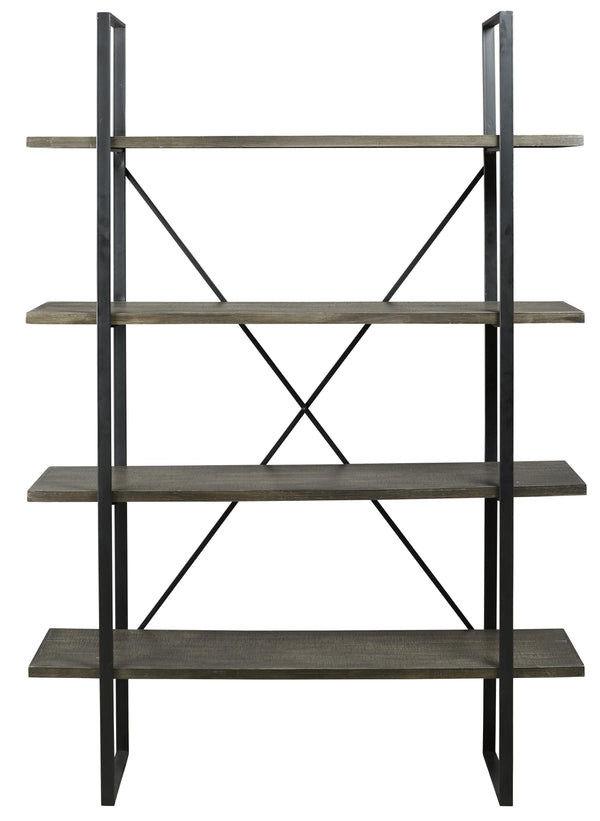Wood and Metal Wall Shelf with 2 Open Shelves, Brown and Gold - BM205227