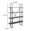 Industrial Round Metal Wall Shelf with 4 Storage Space, Black - BM205168